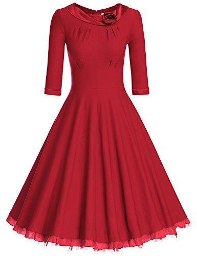MUXXN Women's 1950s Vintage 3/4 Sleeve Rockabilly Swing Dress(XL,Red)