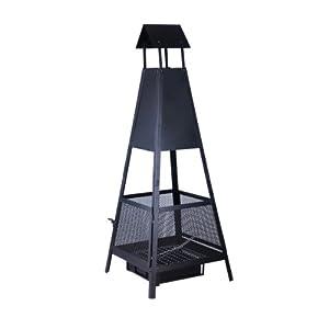 Kamino Flam Feuerstelle, pyramidenförmig, aus lackiertem Stahlblech, mit Ascheschublade, Schwarz, ca. 49 x 49 x 131 cm