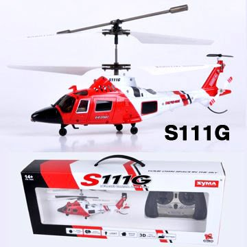 Cheap Coast Guard Rescue RC 3.5CH Gyro Helicopter Mini Infrared Remote Controlled SYMA Heli S111G