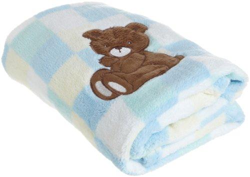 Sam Salem and Son Bear Baby Blanket, Blue - 1