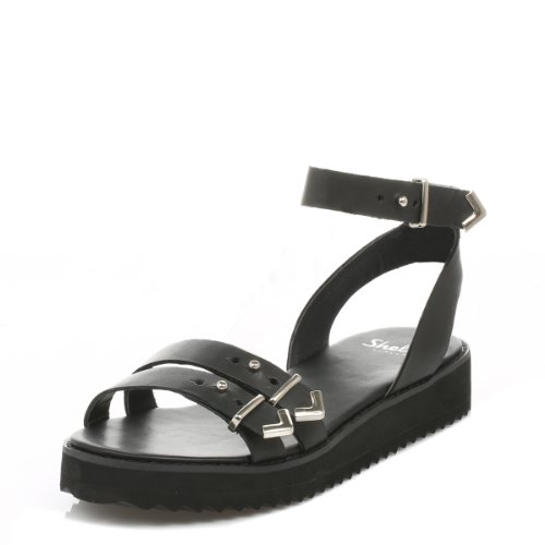 Shellys Donna Nero Portneuf sandali-UK 7
