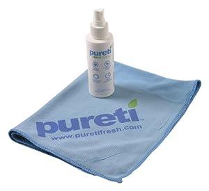 PURETi Clean & Fresh Glass Cleaner & Odor Eliminator - 3.4 oz. Pump Spray Bottle w/ Microfiber Towel by PURETi
