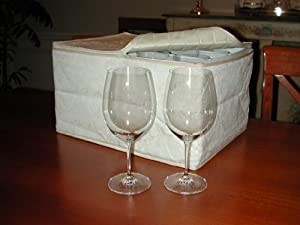 Marathon Housewares KW030009 Deluxe Quilted Damask Stemware Storage Case, Holds 12 Wine... by Marathon Housewares Management Company