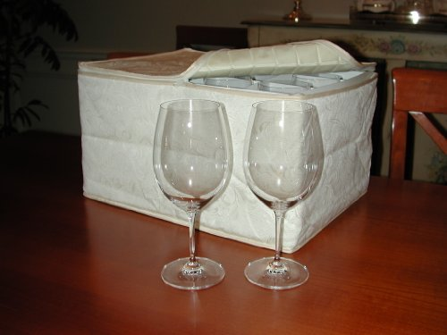 Marathon Housewares Kw030009 Deluxe Quilted Damask Stemware Storage Case, Holds 12 Wine Glasses Or 24 Champagne Flutes front-594731