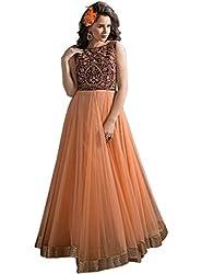 Aarsh Apparel Women's Orange Net Anarkali suit