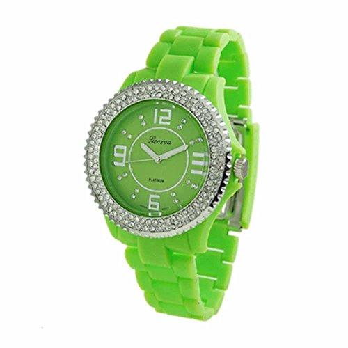 Geneva Womens Rubber Band Lime Green Watch With 2 Rows Stone