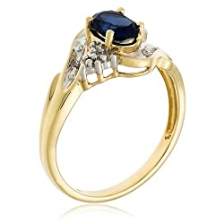 10k Yellow Gold Lab-Created Sapphire Ring with Diamond Accent