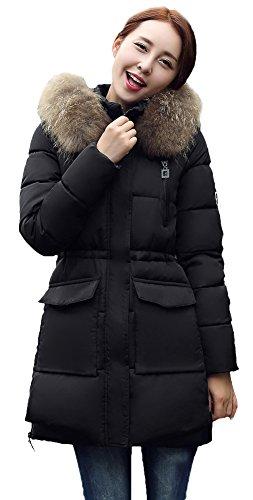 La Vogue-Donna Spessore Cappotto Invernale Giubbotto con Cappuccio Busto 98.5cm Nero