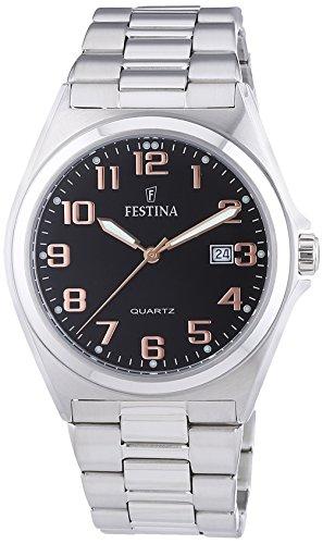 Festina F16374/8 - Reloj analógico de cuarzo para hombre con correa de acero inoxidable, color plateado