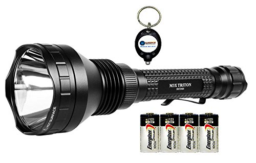 Olight M3X Triton Cree Xm-L2 Led 1000 Lumens Flashlight Combo With 4X Energizer Cr123A Exp. 2020 Made In Usa Batteries And 1X Keychain Light