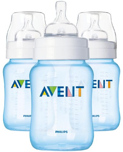 Purchase Philips AVENT 9 Ounce BPA Free Classic Polypropylene Bottles, 3-Pack, Blue