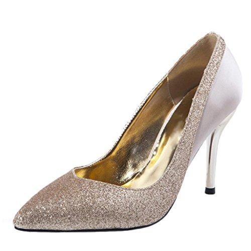 Littleboutique Shimmery Stiletto Pumps Pointed Toe Celebrity Evening High Heels Satin Wedding Dress Shoe Champagne 7.5