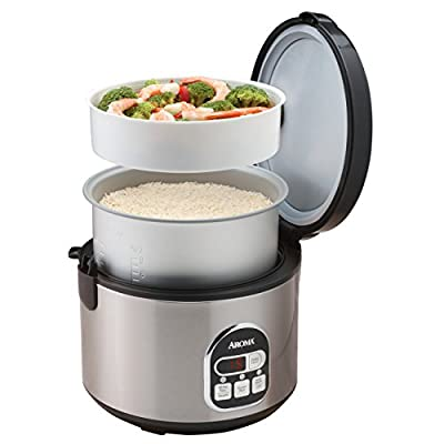 Aroma 16-Cup (Cooked) Digital Rice Cooker and Food Steamer, Stainless Steel from Aroma