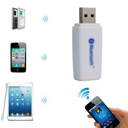 Towallmark Usb Bluetooth 3.5Mm Stereo Audio Music Receiver Adapter For Speaker Iphone Mp3 White