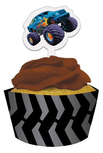 Creative Converting Mudslinger Cupcake Pick Decorations with Matching Baking Cup Wrappers, 12 Count