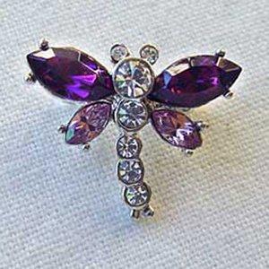 "Platinum-Plated Swarovski Crystal Mini Dragonfly Design Brooch/Pin (1/2"" x 3/4"") - Gift Boxed"