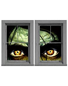 WOWindow Posters Sinister Sid Scary Eyes Halloween Window Decoration, Includes Two 3 by 5-Foot Posters