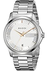 Gucci Men's YA126442 G-Timeless Stainless Steel Watch with Triple-Link Bracelet