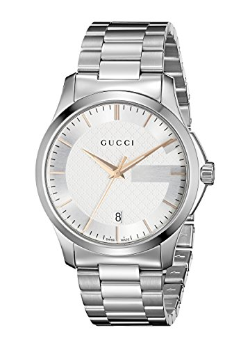Gucci G-Timeless Collection Men's Quartz Watch with Silver Dial Analogue Display and Silver Stainless Steel Bracelet YA126442