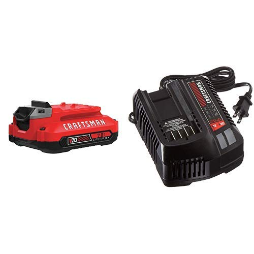 CRAFTSMAN V20 Lithium Ion Battery, 2.0-Amp Hour with Fast Charger (CMCB202 & CMCB104)