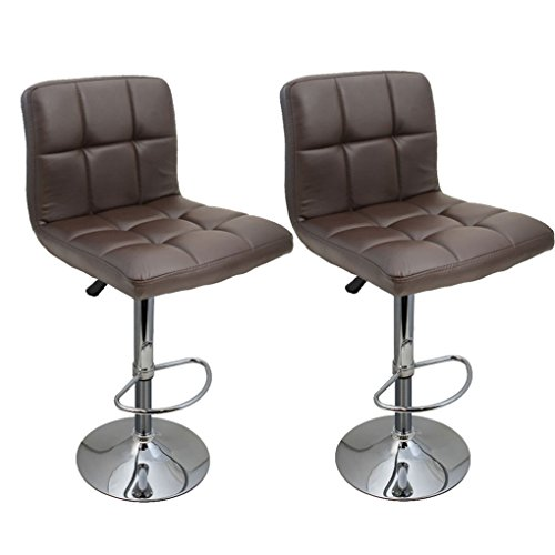 Set Of 2 Bar Stool Swivel Leather Adjustable Hydraulic-Brown