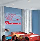 (LARGE) LIGHTNING MCQUEEN CARS & PERSONALISED NAME DISNEY BEDROOM VINYL WALL ART DECAL STICKER 14 COLOURS AVAILABLE