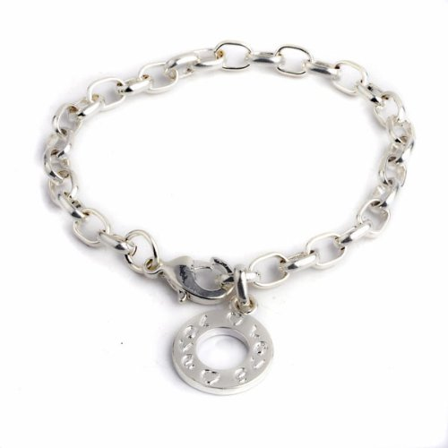 Imixlot Men's White Copper With Platinum Plated Silver Tone Chain Round Circle Hang Pendant Bangle Bracelet