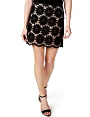Limited Collection Cotton Rich Organza Floral Embroidered Mini Skirt