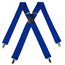 SUS-3-ROYA - Royal Blue - Solid Suspender - Made In U.S.A - 1.50 Wide - X-BACK