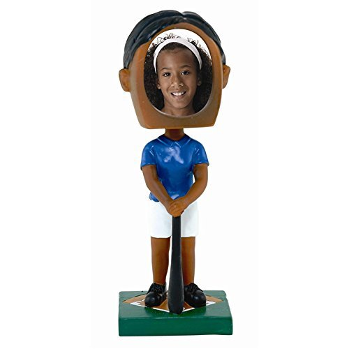 Female Softball Photo Bobble Head - Dark Skin Tone