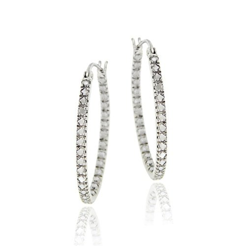 Sterling Silver Diamond Accent Inside Out Oval Hoop Earrings