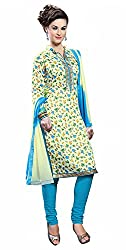 Ethnic For You Bhagalpuri Unstitched Salwar Suit Dress Materials(Cream,Multi)