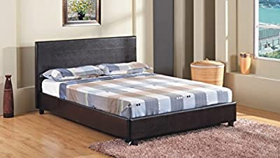 "4FT 6"" Double Faux Leather Bed Frame in Black Prado"