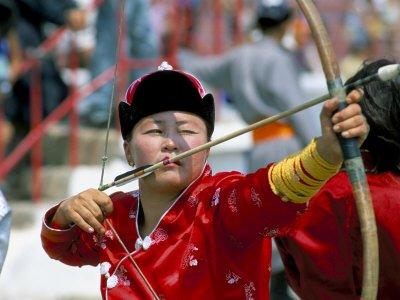 Archery Contest, Naadam Festival, Oulaan Bator (Ulaan Baatar), Mongolia, Central Asia Giclee Poster Print by Bruno Morandi, 24x18