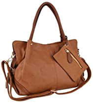 Hot Sale MG Collection LALANIE Brown Slouchy Soft Shopper Hobo Handbag w/Zippered Pouch