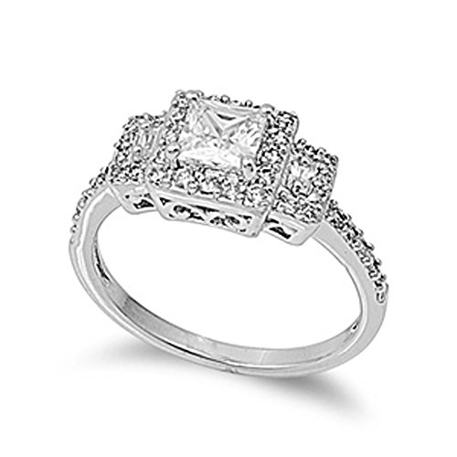 Sterling Silver Woman'S Clear Cz Engagement Ring Polished Comfort Fit Band 9Mm Size 10 Valentines Day Gift