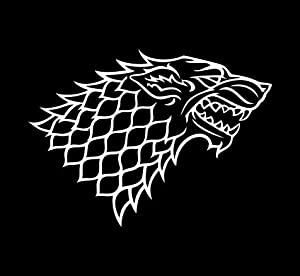 "Game of Thrones House Stark Grey Direwolf Emblem Vinyl Die Cut Decal Sticker 6"" White from Simply Texas"