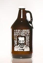 Charles Bukowski 64oz Amber Glass Craft Beer Growler