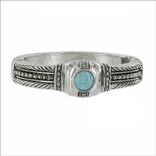 JOA Textured W Natural Stone Hinged Bracelet #040514