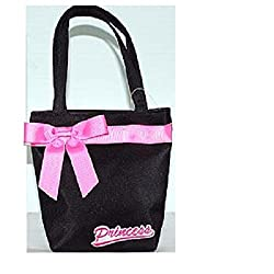 Kids Purse Black w/Pink Ribbon Princess Theme