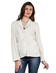 Oxolloxo Women Off-White Linen Blazer