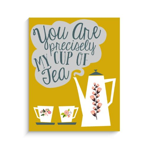 "Lucy Darling Cup of Tea Print Wall Decor, Yellow, 11"" x 14"""