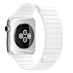 ProElite 38 mm Leather Loop Strap with Magnetic Lock Buckle Wrist Band for Apple Watch - White