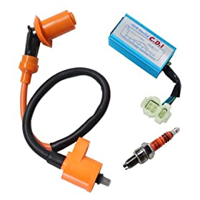 New Pack of Performance Racking Round Ac Fired 6 Pins Cdi + Ignition Coil + 3 Elecrode Spark Plug for Chinese 50cc 125cc 150cc Gy6 Moped Scooter Go Kart