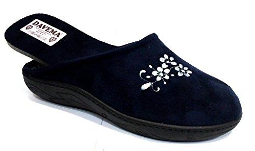 DAVEMA pantofole ciabatte invernali da donna art. 5033 BLU con plantare estraibile (39)