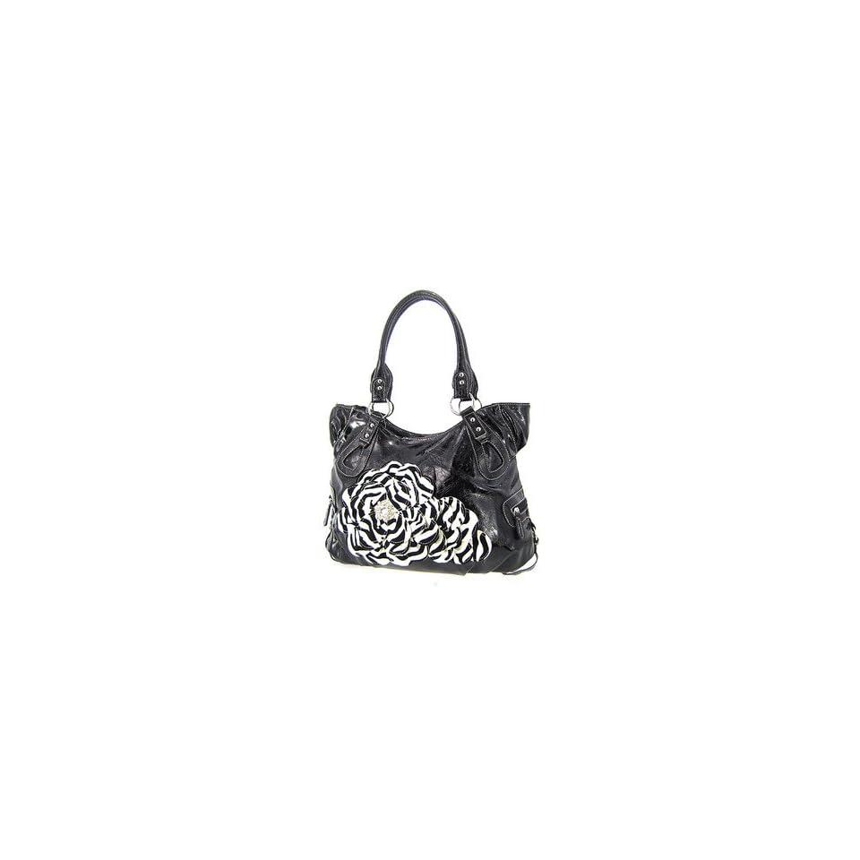 Roomy Dark Purple Raised 3d Zebra Print Flower Purse Handbag