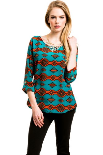 Love Cream Tribal Stripe Blouse In Teal