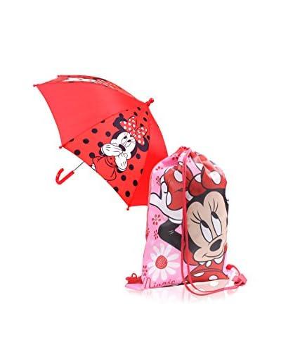 BACK TO SCHOOL Zaino + Ombrello Minnie  [Rosso]
