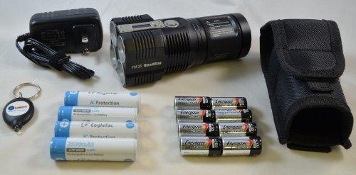 Nitecore Tiny Monster Tm26 3500 Lumen Quadbeam Cree Xml-U2 Led Searchlight / Flashlight Combo Set Including 4 X Eagletac 2500Mah 18650 Li-Ion Batteries, 8 X Energizer Cr123A Lithium Batteries, And Light Junction Led Keychain