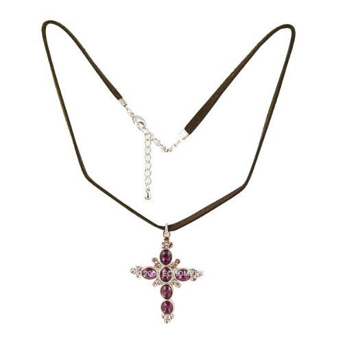 Victorian Style Purple Cross Necklace Cubic Zirconia Nickle Free